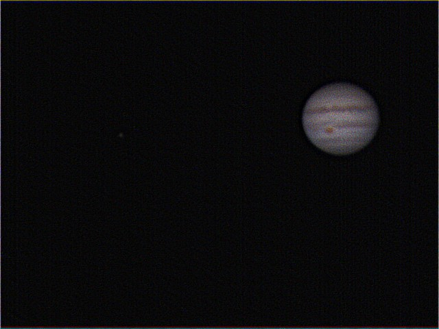Jupiter, Great Red Spot & moon